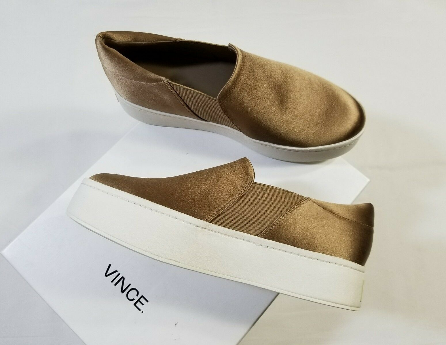 NIB Vince Warren Italian Satin Platform Slip On Sneakers Fawn $225