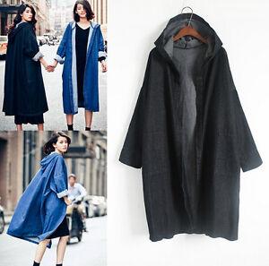 Retro Loose Fit Overcoat Jacket Hooded Cardigan Trench Jean Lang Størrelse Kvinder Frakke HwrOqH