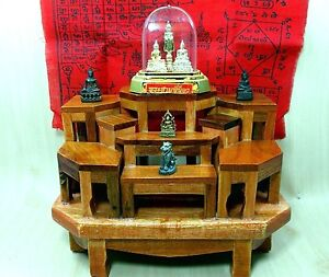 New Mini Altar Wood Table Handmade Set For 9 Buddha Thai Amulet Set ...