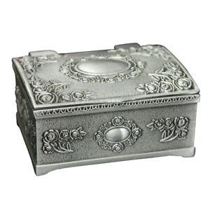 Vintage Black Silver Jewelry Necklace Bracelet Box Storage Organizer Holder  K6l8