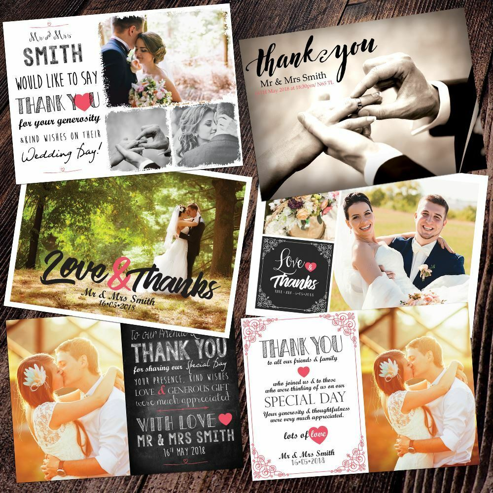Photo WEDDING Thank You Cards Personalised Flat Postcard Whole Photo 10,20,30