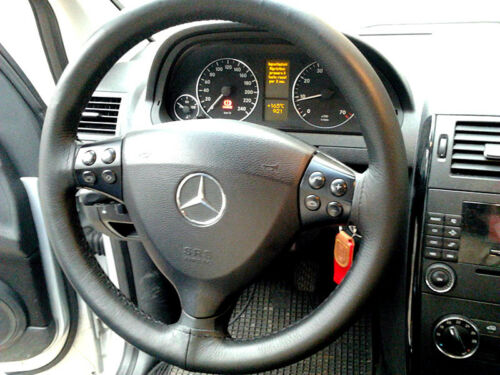 Lenkradbezug Schwarzes Leder Passend für Mercedes Klasse A W169