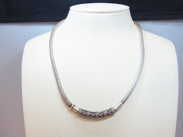 925er silver Geflochtene Halskette Lang 46 cm Stark 4,1 mm Gewicht 51,3 gramm