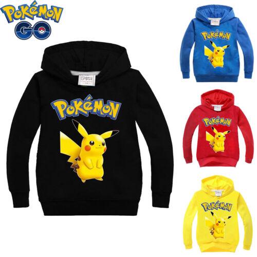 Pokemon Pikachu Hoodies Sweatshirt Kids Boys Child Casual Hooded Pullover Tops
