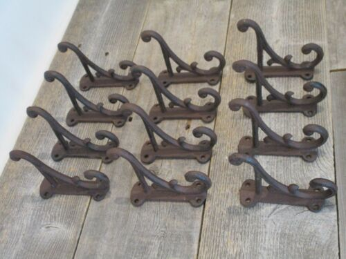 """12 RUSTIC COAT HOOKS ANTIQUE STYLE CAST IRON 4.5/"""" WALL DOUBLE RESTORATION BROWN"""