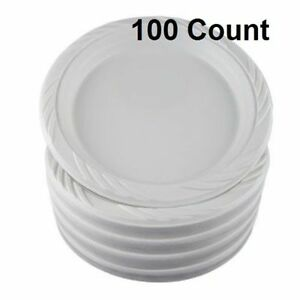 100 Count Disposable Party Plastic Plates 9 White Dinner Wedding Dishes