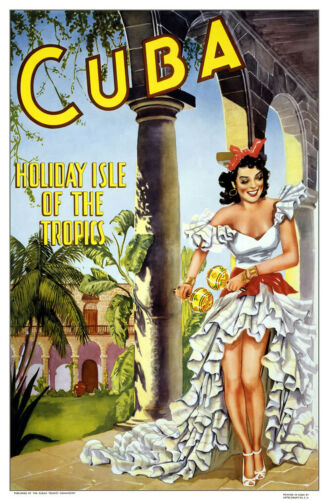 Visit CUBA Holiday Isle of the Tropics.. Vintage Travel Poster A1A2A3A4Sizes