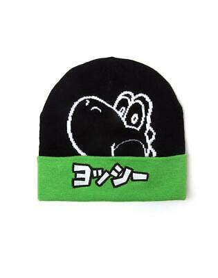 OFFICIAL Super Mario Yoshi Rubber Patch Knitted Beanie Hat NEW