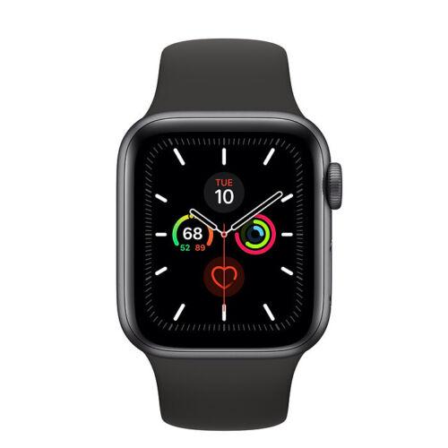 Dettagli su  Apple Watch Series 5 GPS - 40mm Caso in Grigio Siderale+Nero Cinturino Sportivo