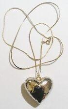 Bijou Vintage pendentif chaine rétro coeur 3D effet martelé couleur argent *3476
