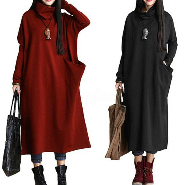 ZANZEA UK 14-24 Women Turtleneck Batwing Pockets Plus Sized Maxi Dress Kaftan