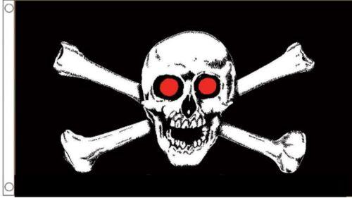 Pirate Skull /& Crossbones Red Eyes 5/'x3/' Flag