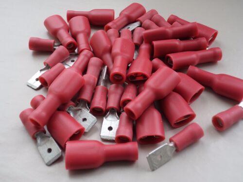 Rojo 250 hombre y hembra de horquilla completamente aislado Crimp Terminales Qty = 20 EA