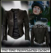 KATE MOSS TOPSHOP CHARCOAL BLACK VINTAGE 20s VICTORIANA LEATHER JACKET UK 10 12