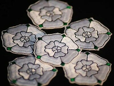 Re Enactment-War of the Roses-House of York-WHITE ROSE SEW ON BADGE MOTIF