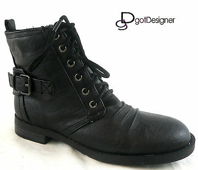 NEW Womens Flat Riding Ankle Boots Shoes Lace Up Strap Buckle Fashion Casual