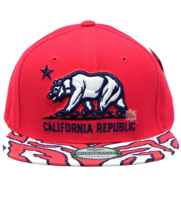 0cb640d3 WHANG California Hat Ziger Cali Bear Cap Snapbacks (Adjustable , RED), New