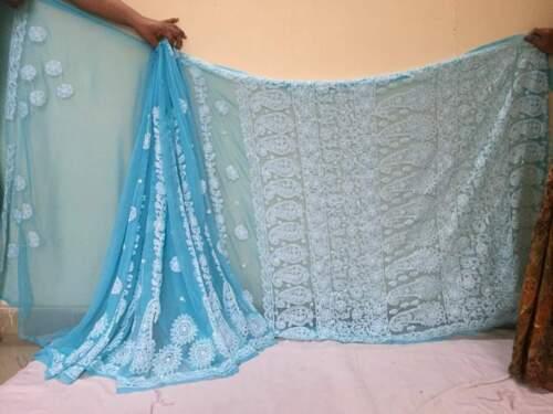 NEW Raksha bandhan Rakhi gift Tepchi Saree Chikankari Ethnic Wear Chikan Sari