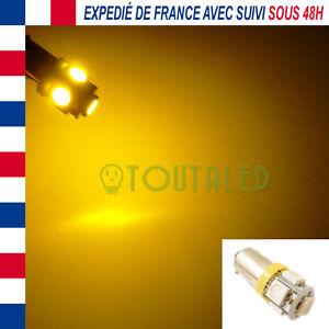 AMPOULE-LAMPE-12V-BA9S-T4W-5-LED-5050-ORANGE-TUNING-INTERIEUR-PLAFONNIER