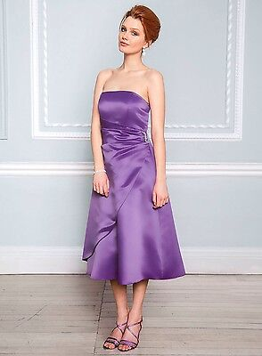 Ladies BHS Chiffon Bridesmaid Maxi Dress Vintage LILAC Full Length Gown Size 18