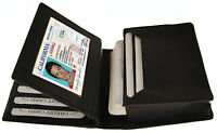 Men's Leather Bifold Credit Business 18+ Card ID Center Flap Wallet Holder Case