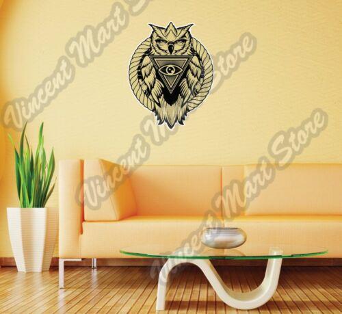 "Eye Providence Owl illuminati franc-maçon Autocollant Mural Chambre Décoration Intérieure 17/""X25/"""