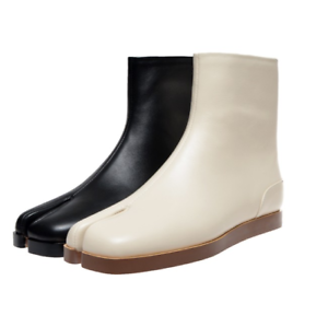New Womens Tabi Split Toe Flat Sneaker Boots Mid Calf Ankle Rubber Sole