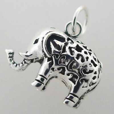 Sterling Silver 12mm 3d Elephant small charm