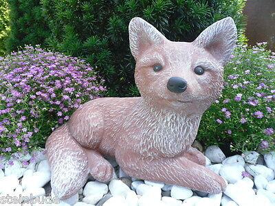 Gartenfigur Gartendeko Geschenk Figur Steinguss Tierfigur Steinfigur Hund