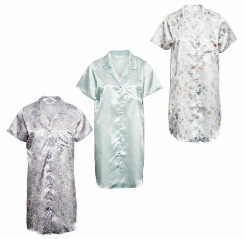 Ladies Silky Satin Night Shirt with One Chest Pocket Short Sleeves
