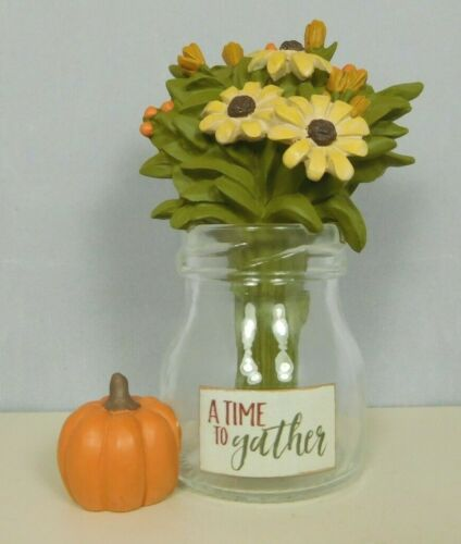 New by Blossom Bucket #12255 A time to Gather small Vase with Flowers /& pumpkin