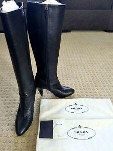 1a80d7560 Prada Black Leather Knee High Platform Boots Cone Heel Almond Toe ...