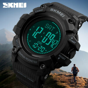 Pedometer Sport Watch Men Skmei Brand 50m Waterproof Led Digital Chrono Calories Alarm Outdoor Military Wristwatches Digital Watches