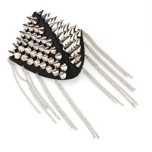 Stuff metal plasyic Rivet fringe Punk epaulette Shoulder decoration Q5S9 F7A5