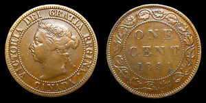 1891-Canada-1-One-Large-Cent-Queen-Victoria-SDSL-Obv-3-Lacquered-F-15