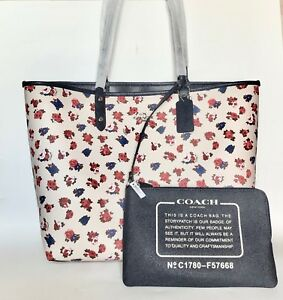 18a483cec COACH Navy & Chalk Floral Reversible Tote Handbag Shoulder Bag with ...