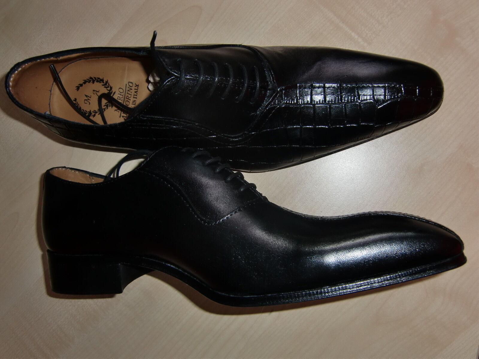 Mario Alborino, eleganter Schnürschuh für Herren, Gr. 42, schwarz, Leder, neu