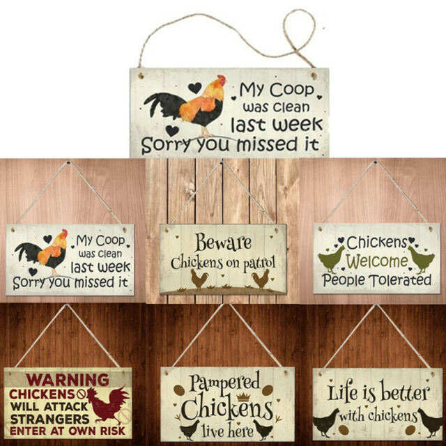 Chicken Plaques Wooden Hanging Signs Chicken Coop Home Wall Decor Outd;AU