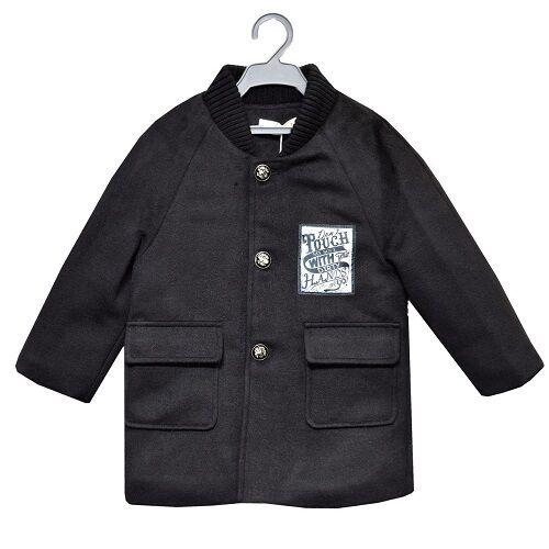 Nuovo Ragazzi Bambini Nero Paris Cappotto Montgomery Giacca Scuola 3 4 5 Anni 6