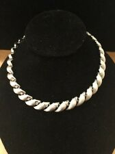 VINTAGE Signed Trifari Crown Silver Tone Necklace Choker STUNNING!