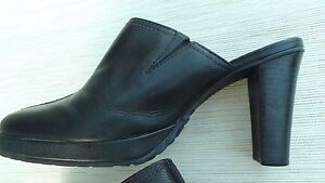 ENZO-ANGIOLINI-Women-039-s-Black-Leather-Slip-On-Heels-Size-7-1-2