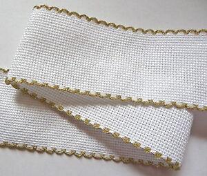 """1 M Blanc 14 Comte Aida Bande 2"""" 50 Mm Large Gold Scallop Edge Zweigart-afficher Le Titre D'origine"""