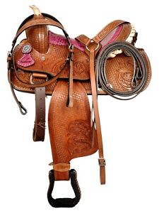 Premium-Leather-Western-Barrel-Racing-Pony-Adult-Horse-Saddle-Seat-Size-14-034-18-034