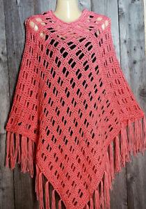 Boho Poncho Håndlavet Soft Ny Vandmelon Fryns Hippie Sweater Hånd Pink Hæklet x7cOpZq