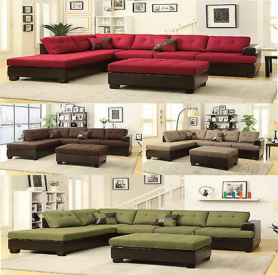 Sectional Sofa Contemporary Sectionals Couch Chaise Corner Couches free  Ottoman | eBay