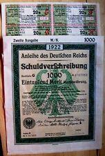 German Treasury bond Anleihe 10,000 Marks Reichswaehrun with all coupons