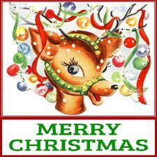 30 Custom Merry Christmas Reindeer Art Personalized Address Labels