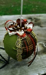 Fancy-Beaded-Country-Plaid-Ribbon-Ball-Christmas-Ornament-Moss-Green-Gold-Brown