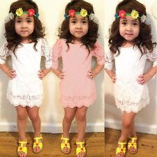 Baby Girls Kids Princess Long Sleeve Flower Party Tutu Lace Short Mini Dress A