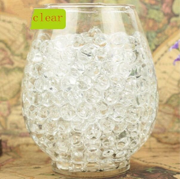 NEW 600pcsClear Crystal Soil Gel Jelly Ball Water Pearls Wedding Home Decor